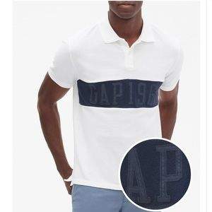 Men's White W/Navy Stripe GAP Logo Pique Polo NWT